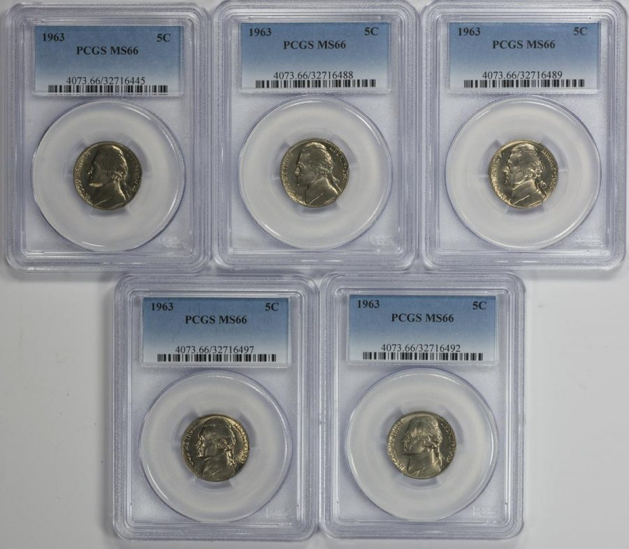 Collection of 5 1963 5C Jefferson Nickels all in PCGS MS66