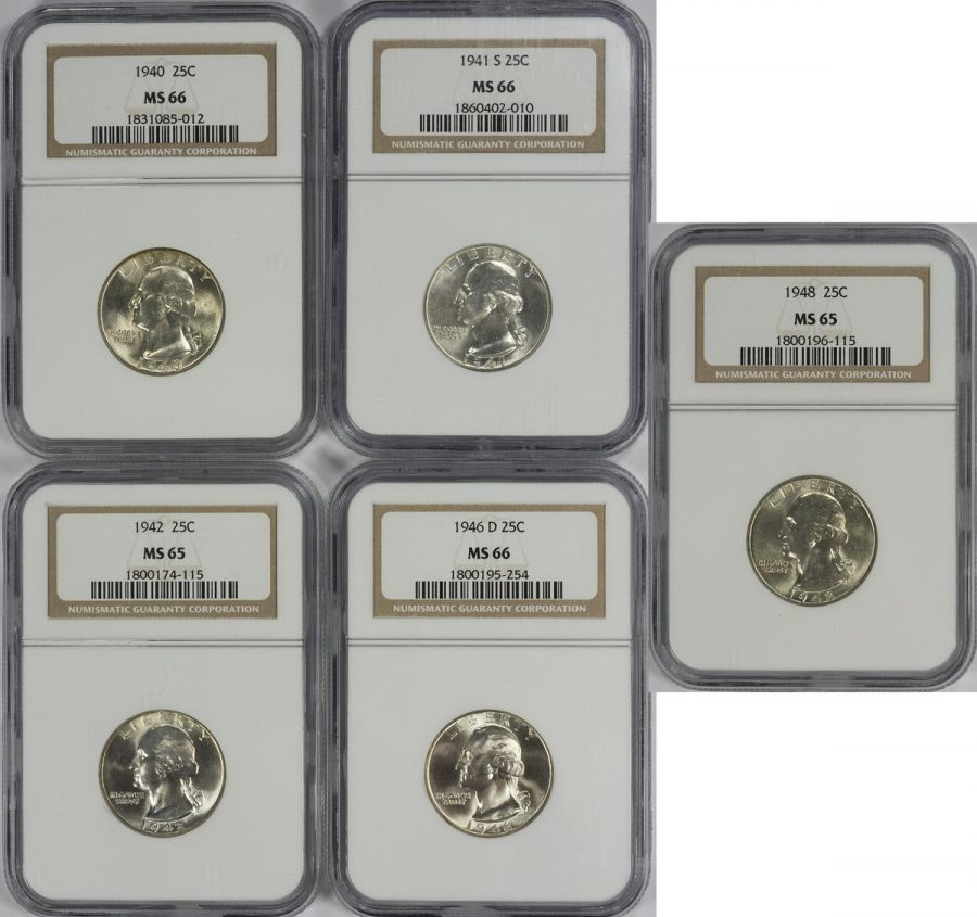 Collection of 5 25C Washington Silver Quarters – NGC MS65-66