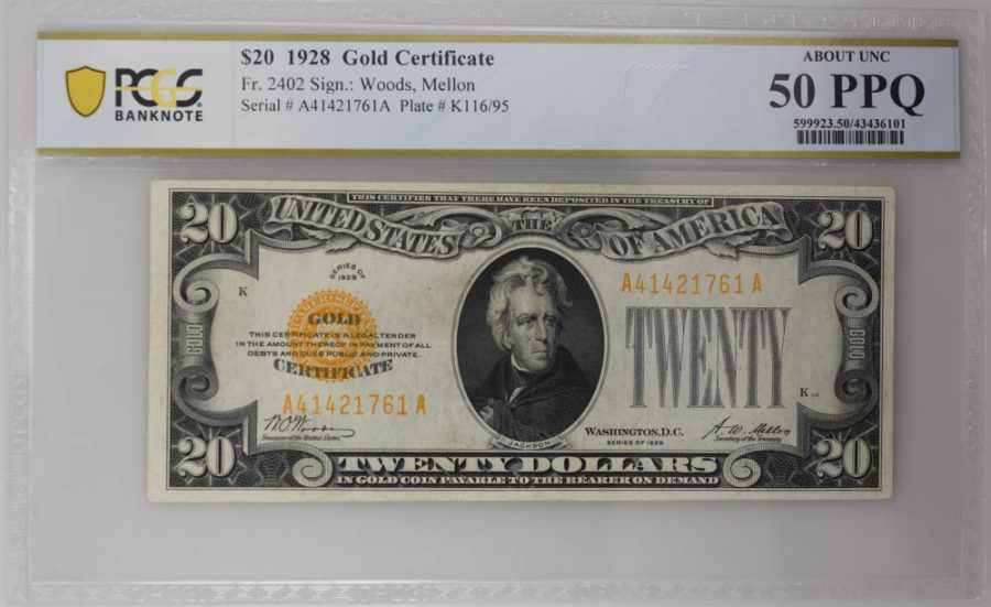1928 $20 Gold Certificate PCGS ABOUT UNC, 50 PPQ