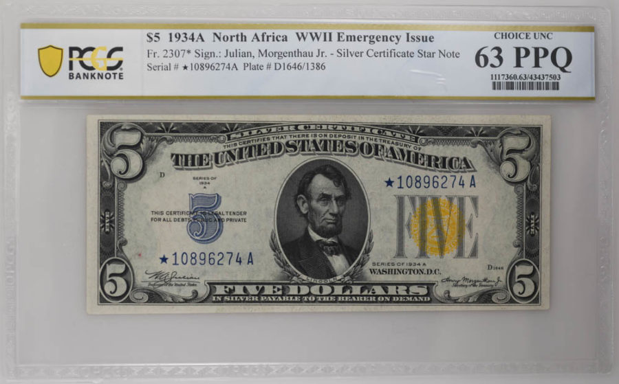 1934A $5 North Africa WWII Emergency Issue PCGS CHOICE UNC, 63 PPQ
