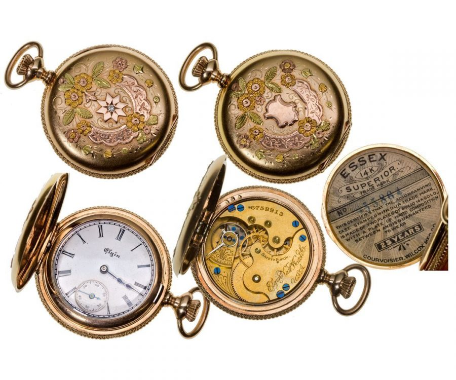 IL,Elgin-,0 Size Ladies 14K Multicolored Gold Elgin Pocket Watch with Diamond