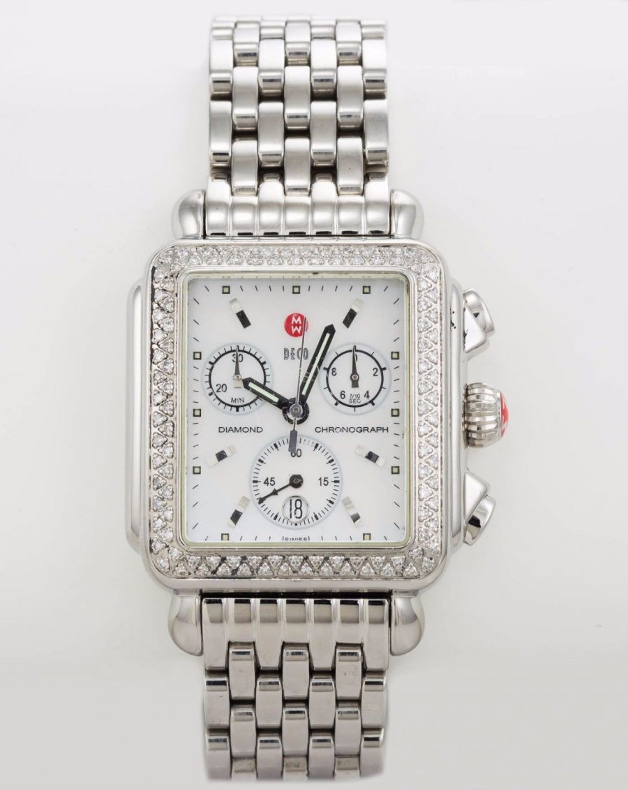 Michele deco chronograph wristwatch in stainless steel with diamond bezel