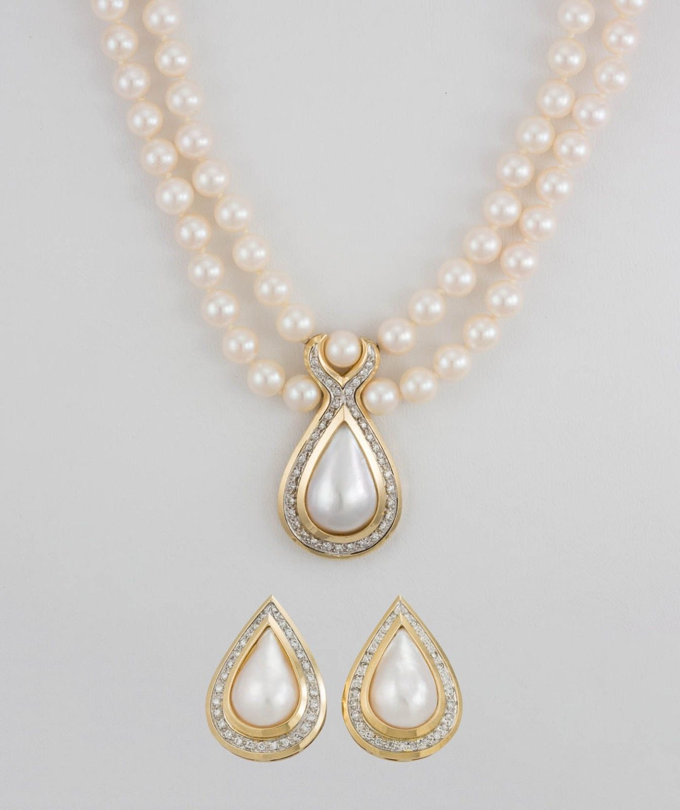 Ladies Pearl Necklace Earring Set W 14k Yellow Gold Diamonds 16