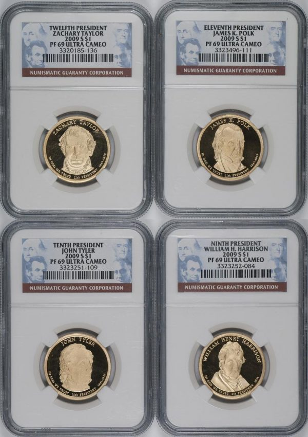 Lot of 4- Complete 2009-S $1 Presidential Dollars Set NGC PF69 ULTRA CAMEO