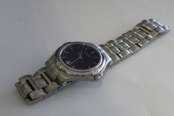 Men's Gucci Watch Stainless Steel Swiss Quartz Movement Black Dial