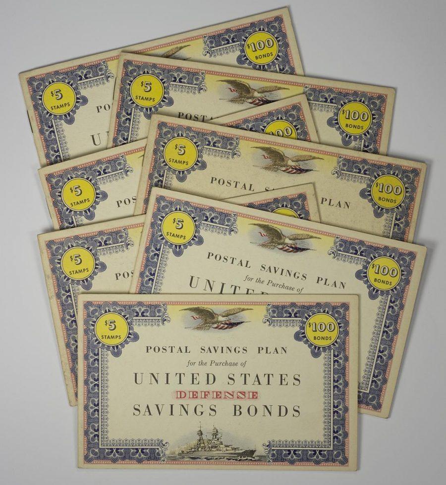 Seven $100 United States Defense Savings Bond Stamp Book, WWII c1942 – UNUSED