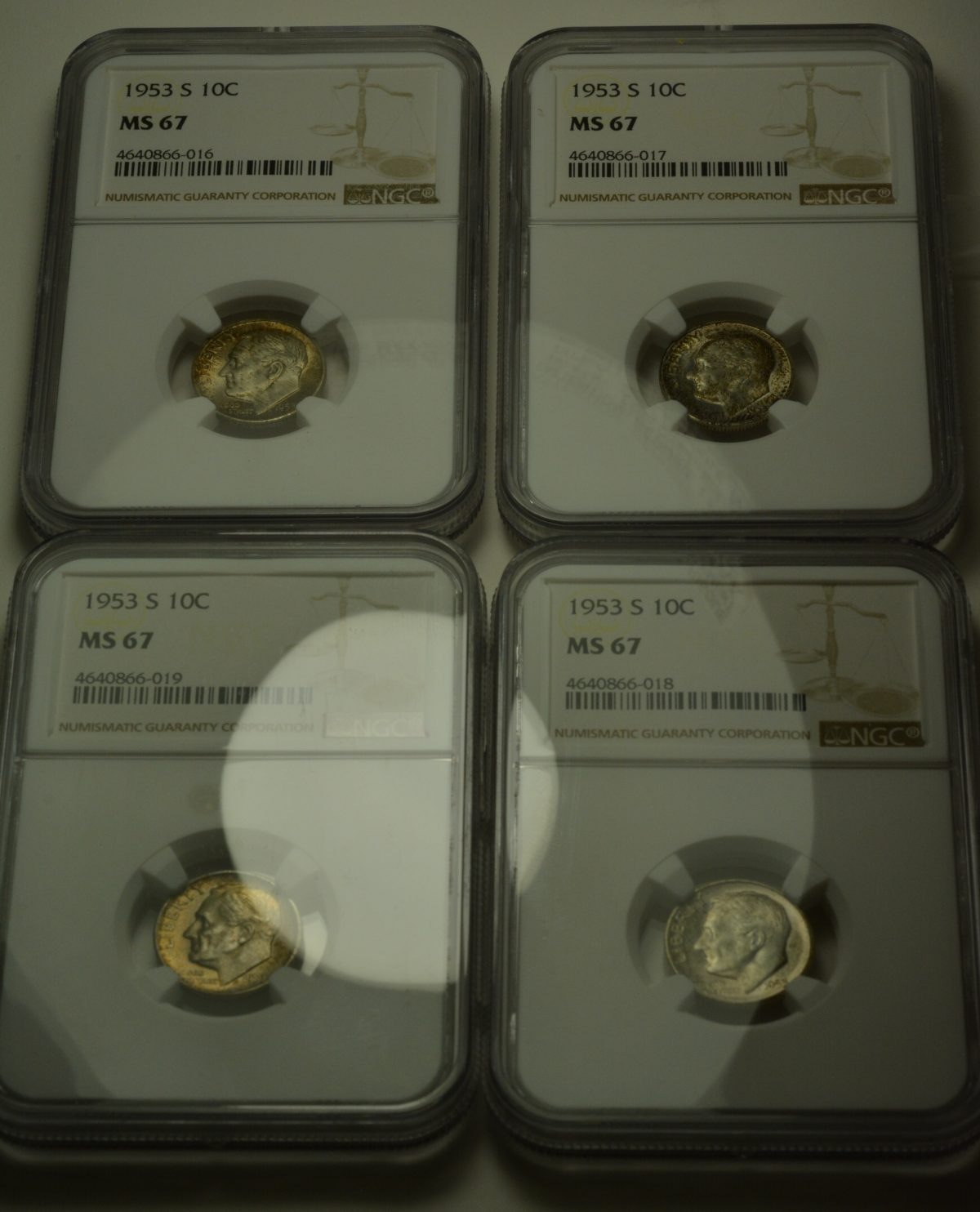 Lot of 1953-S Roosevelt Dimes NGC Certified MS 67 Beautiful Mint Set Toning!