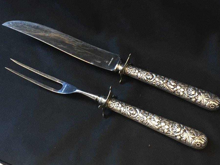 Antique Sterling Silver Carving Set Floral Pattern STAMPED 10.5″