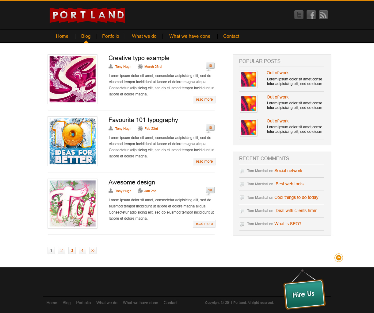Page: Portland Free Photoshop Website Template