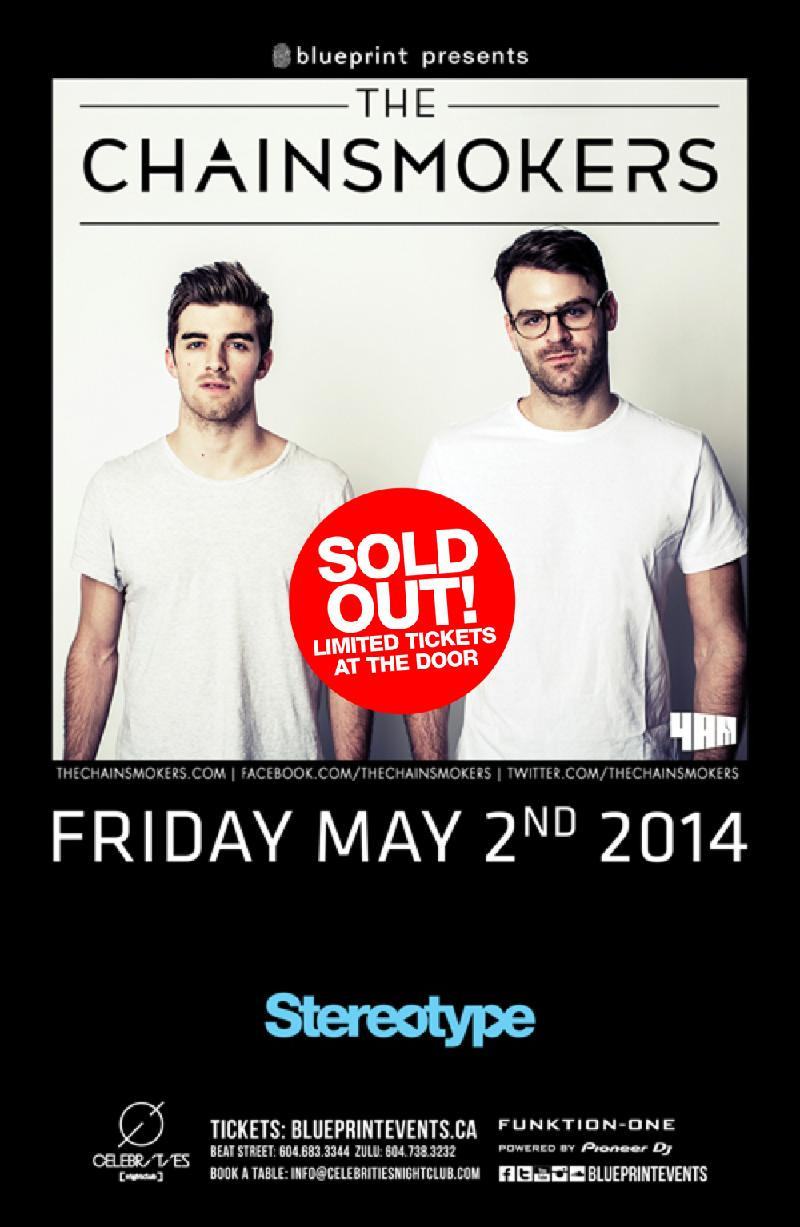 Blueprint events sold out the chainsmokers stereotypefridays performing artists click on artist for reviews and previews malvernweather Images
