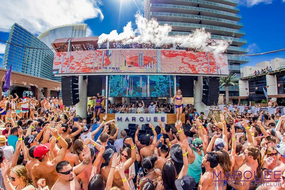 vegas pool party celebration at Marquee Dayclub