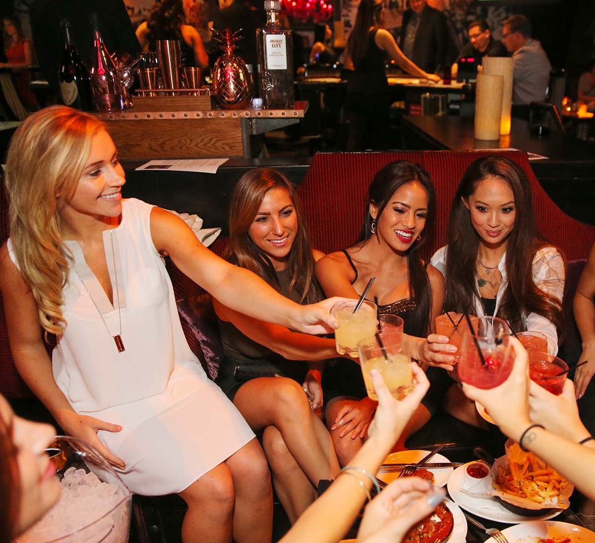 group of ladies enjoying food and drinks at lavo casino club