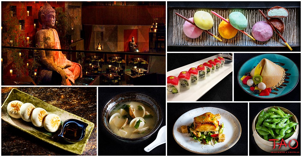 tao restaurant las vegas interior and food mosaic