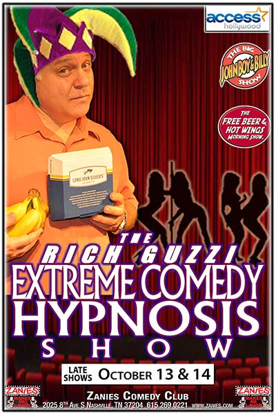 Hypnotist Rich Guzzi Xtreme Hypnosis Show Live at Zanies Comedy Club Nashville October 13 & 14, 2017