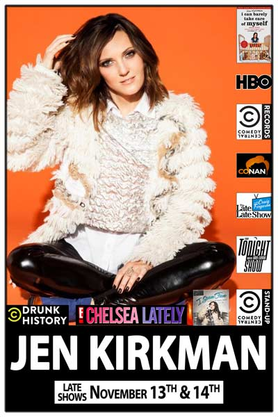 Jen Kirkman from Drunk History, Chelsa Lately, Comedy Central, Fergeuson, Conaon and much more live at Zanies Comedy Club Nashville November 13 & 14, 2015