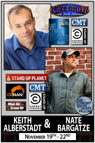 Keith Alberstadt & Nate Bargatze live Zanies Comedy Club Nashville November 19-22, 2015