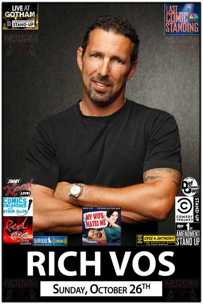 Rich Vos Sunday, October 26, 2014 from Opie & Anthony, Comedy Central, Def Comedy Jam, Comics Unleased, Last Comic Standing and much more Live at Zanies Comedy Club Nashville