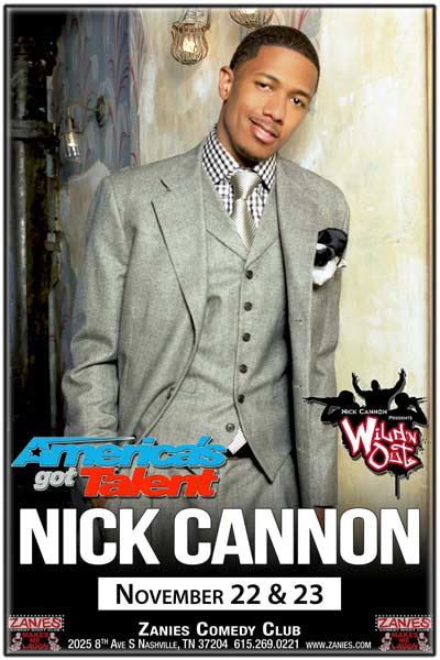"Nick Cannon from Wild ""n Out and America's Got Talent live at Zanies Comedy Club Nashville November 22 & 23, 2016"