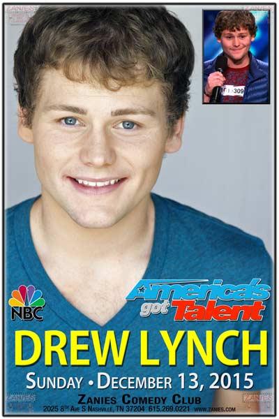 Drew Lynch Finalist on NBC's Americas Got Talent live at Zanies Comedy Club on Sunday, Dec 13, 2015