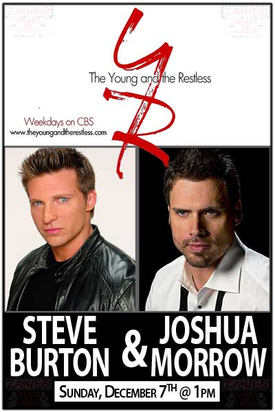 The Young and the Restless Steve Burton & Joshua Morrow live at Zanies Comedy Sunday, Dec 7 2014 @ 7:00 pm.