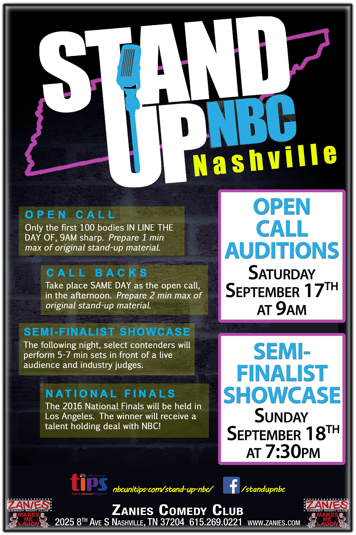 StandUP NBC Nashville Semi-Finalist Showcase live at Zanies Comedy Club Nashville Sunday, September 18, 2016