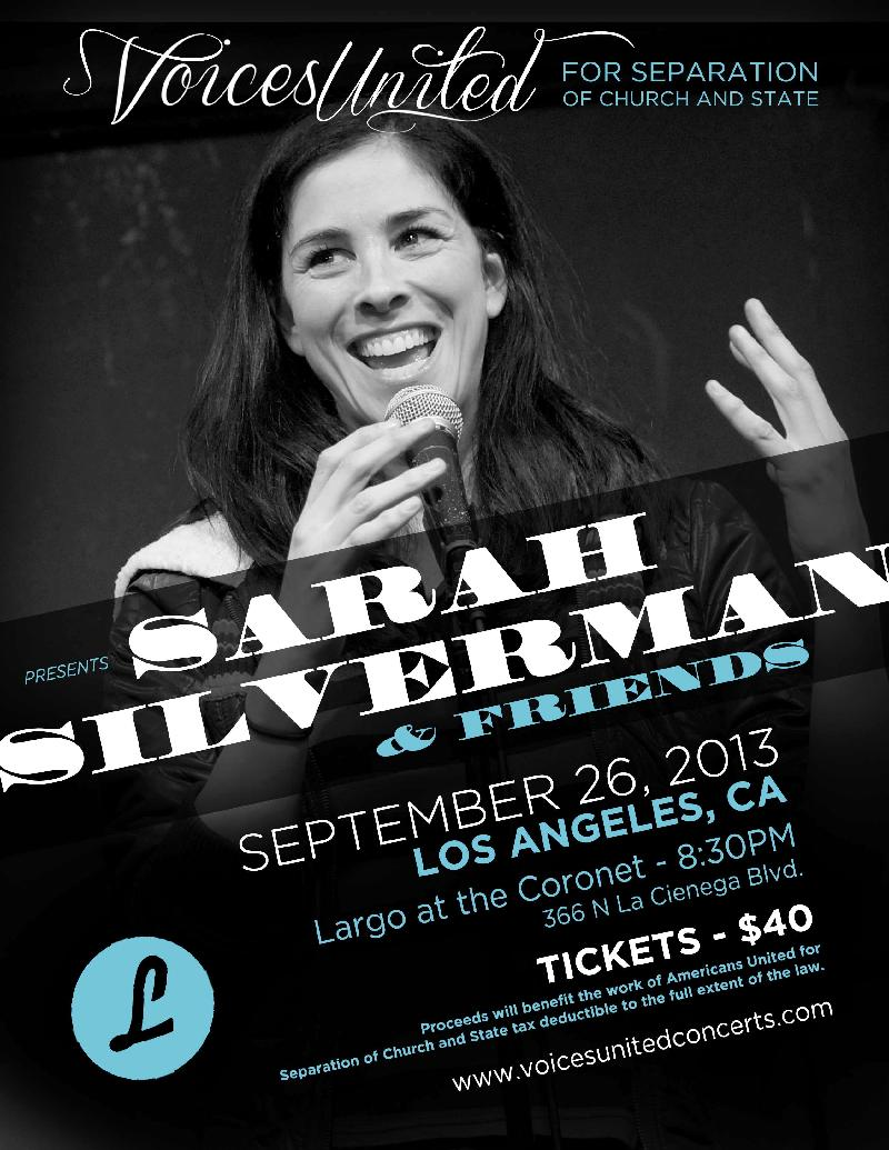 Sarah Silverman  Friends Benefit Voices United for Separation of Church and State