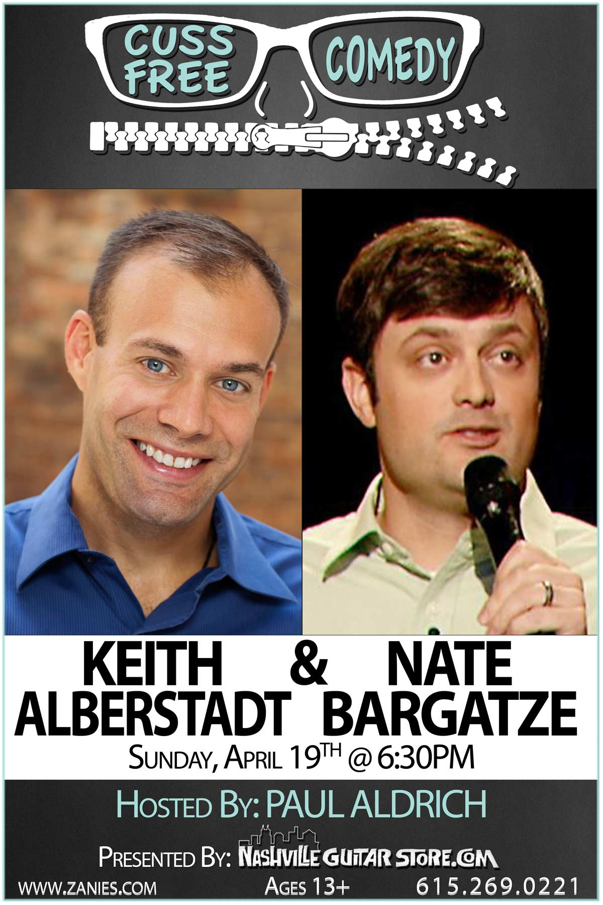 Cuss Free Comedy: Keith Alberstadt and Nate Bargatze Sunday, April 29, 2015 at 6:30PM Live at Zanies Comedy Club
