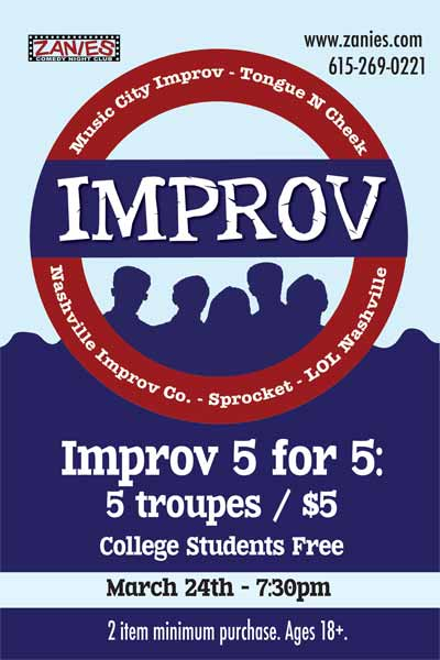 Improv Comedy Night Wednesday, 3/24/2015 at 7:30pm Live at Zanies Comedy club