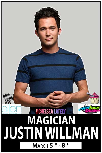 Justin Willman live at Zanies Comedy Club March 5-8, 2015
