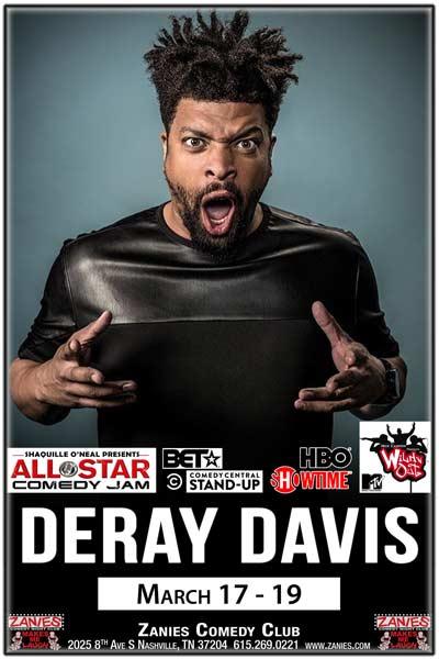 DeRay Davis live at Zanies Comedy Club Nashville March 17-19, 2017