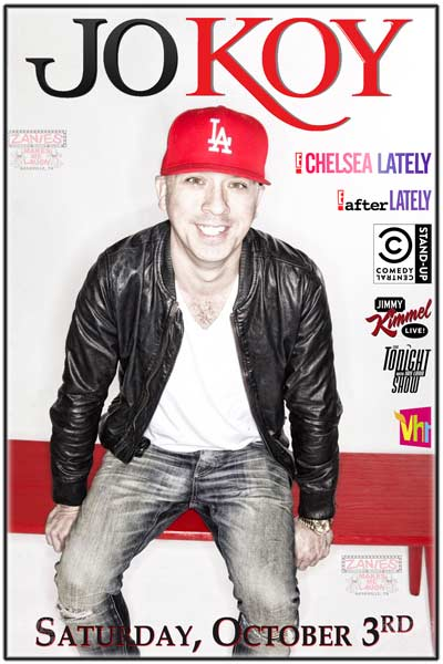 Jo Koy from Chelsea Lately, Adam Carolla, Kimmel, Leno and much more live at Zanies Comedy Club Nashville Saturday October 3, 2015 for two shows only