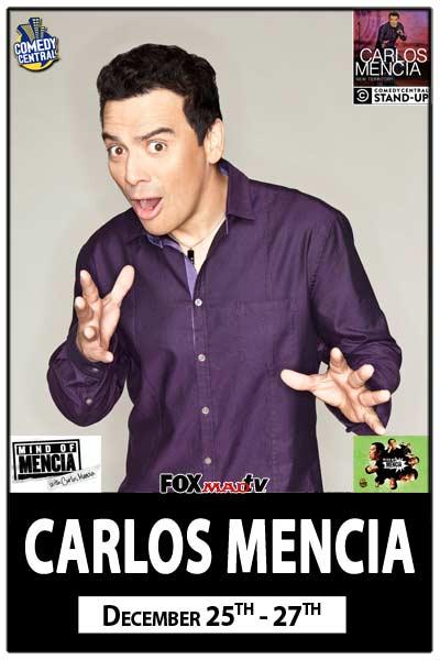 Carlos Mencia live at Zanies Comedy Club December 25-27, 2015
