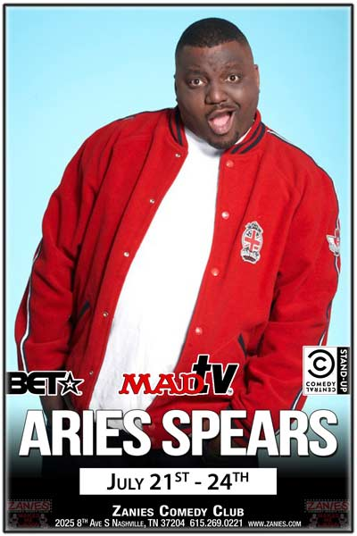 Aries Spears from BET, MadTV, Comedy Central and much live at Zanies Comedy Club July 21-24, 2016