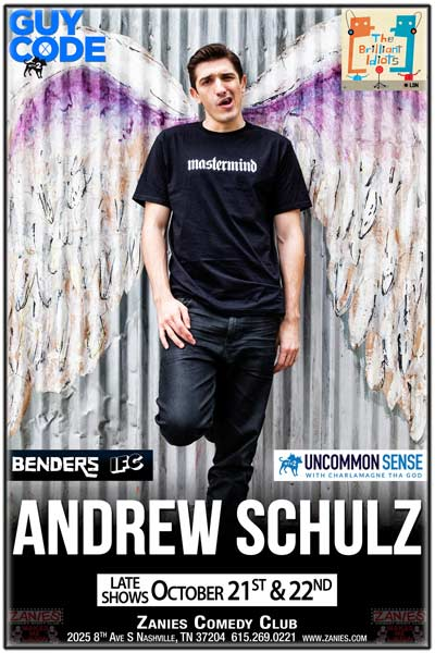 Andrew Schulz from Guy Code, Benders, Uncommon Sense and much more live at Zanies Comedy Club Nashville Late Shows October 21 & 22, 2016