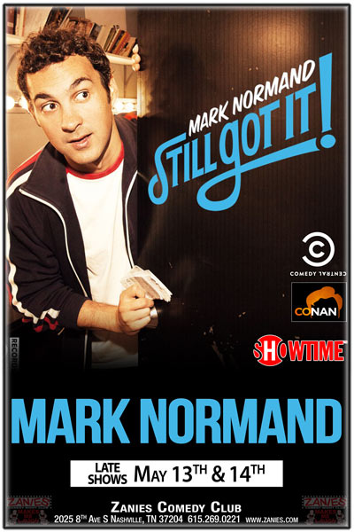 Mark Normand seen on Comedy Central, Conan, Showtime and more live at Zanies Nashville late shows May 13 and 14, 2016