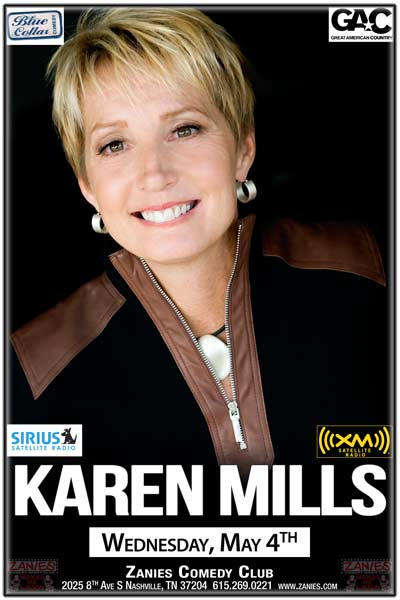 Karen Mills heard on Sirius XM Blue Collar Comedy, GAC and more live at Zanies Comedy Club Nashville Wednesday, May 4, 2016