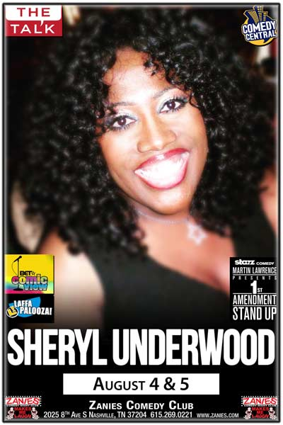 Sheryl Underwood co-host of CBS' THE TALK live at Zanies Comedy Club Nashville August 4 & 5, 2017