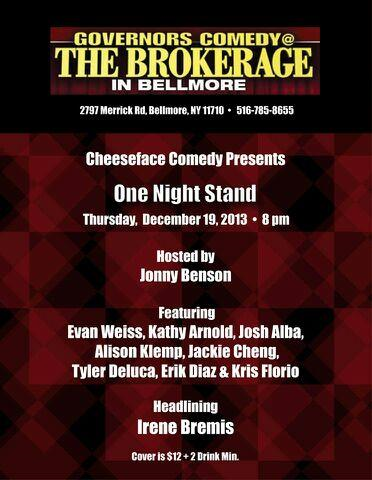 CHEESEFACE COMEDY PRESENTS   A One Night Stand  SPECIAL EVENT