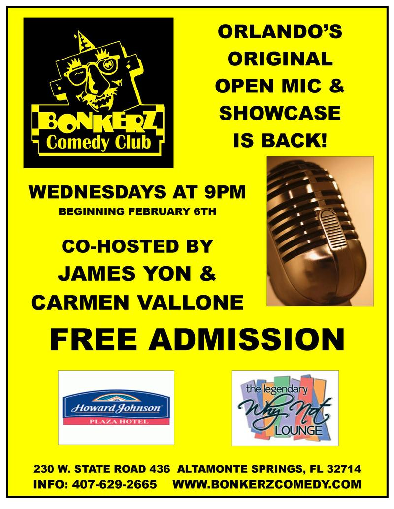 Open Mic  Showcase Night hosted by James Yon  Carmen Vallone