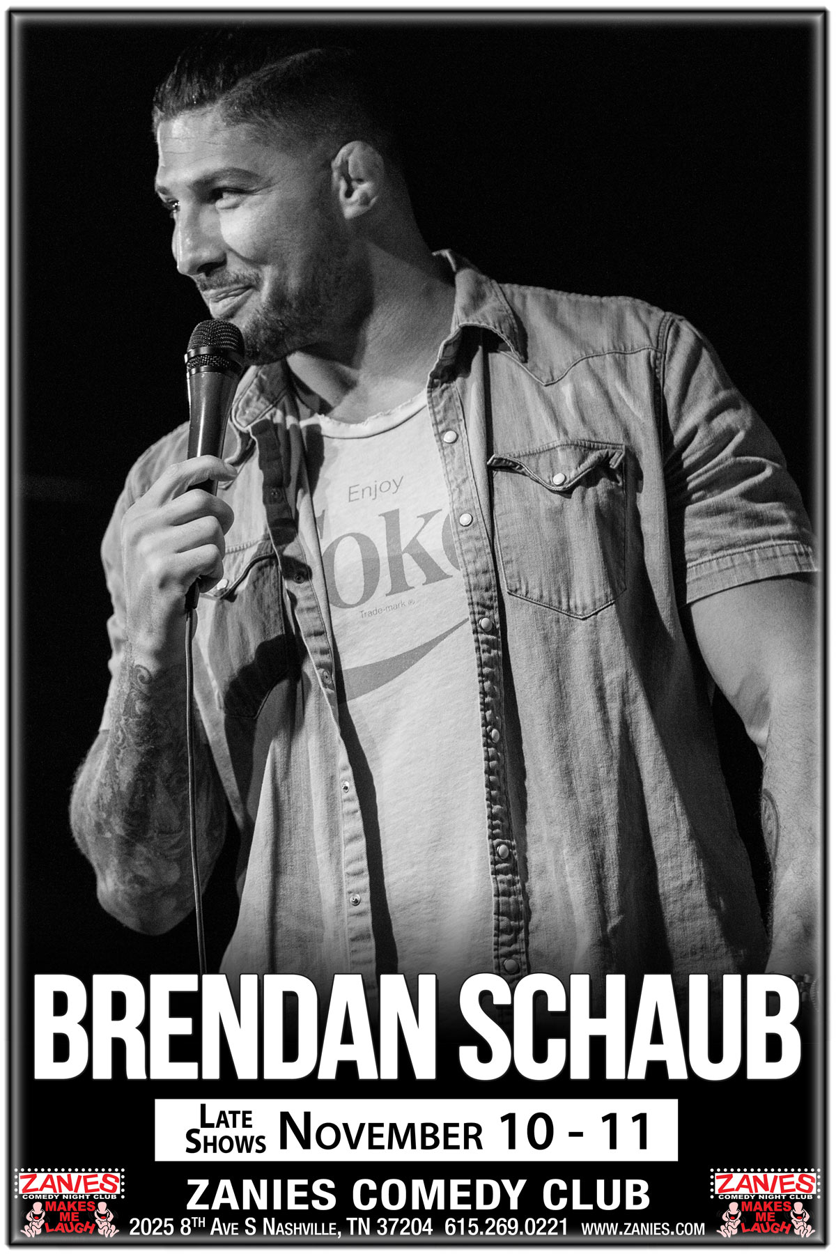 Brendan Schaub from Fighter & The Kid Podcast at Zanies Comedy Club Nashville Late Shows November 10-11, 2017