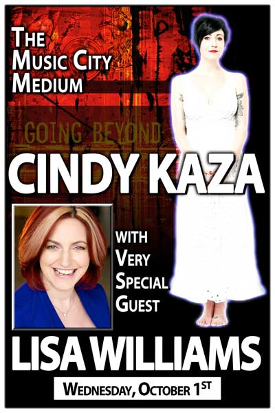 The Music City Medium Cindy Kaza with Special Guest Lisa Williams ( Special Engagement ) - Wed, Oct 01, 2014 at 7:30 pm at Zanies Comedy Club Nashville