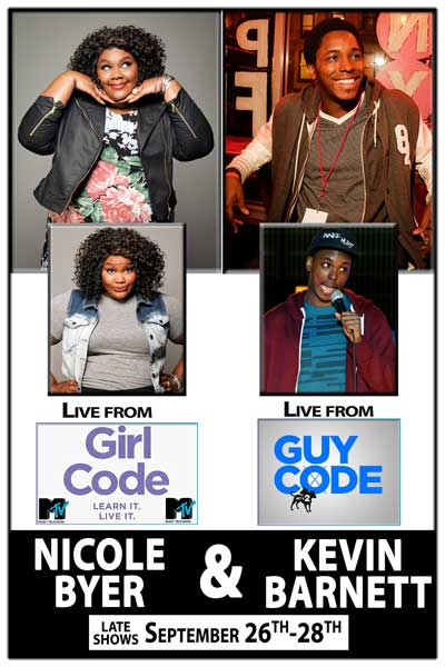 Girl Code Nicole Byer and Guy Code Kevin Barnett Live at Zanies Comedy Club Nashville Late Shows September 26-28, 2014