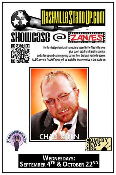 NashvilleStandup.com Showcase ft Chad Riden Wednesday, September2, 2014 at Zanies Comedy Club Nashville