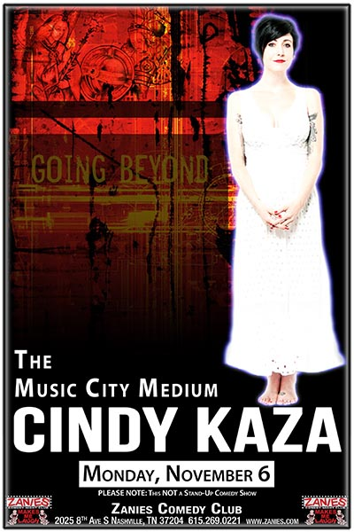 The Music City Medium Cindy Kaza live at Zanies Comedy Club Nashville Monday, November 6, 2017