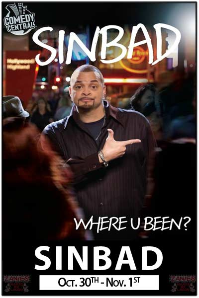 Sinbad...Zanies Clean Comedy Series continues Live at Zanies Comedy Club Nashville Oct. 30 - Nov. 1, 2015