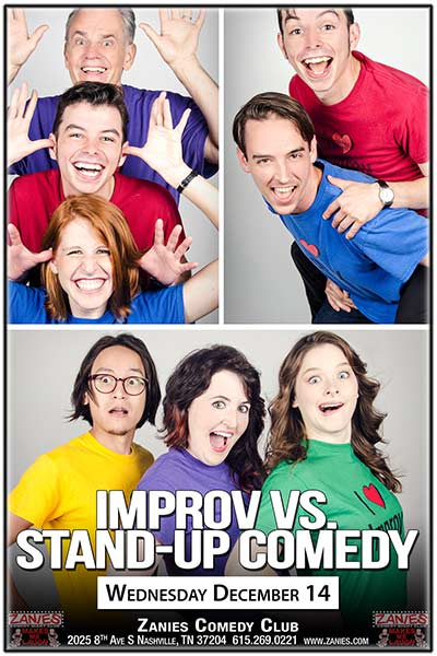 Improv vs. Stand-Up Comedy at Zanies Comedy Club Nashville December 14, 2016