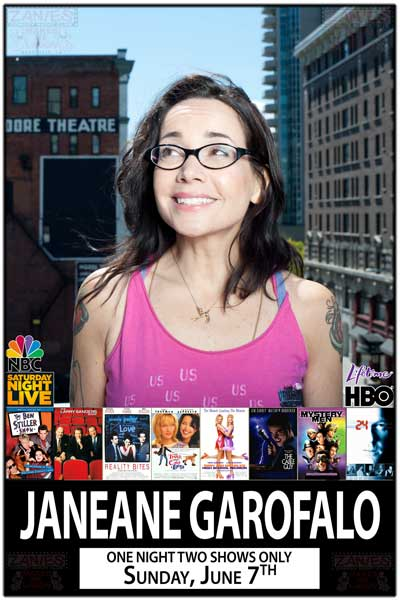 Janeane Garofalo live at Zanies Comedy Club One Night Two Show Only Sunday, June 7, 2015