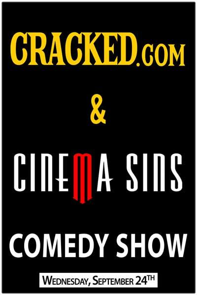 Cracked.com & Cinema Sins Comedy Show Live at Zanies Comedy Nashville Wednesday, 9/24, 2014