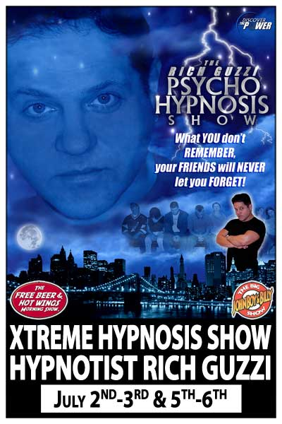 Hypnotist Rich Guzzi at Zanies Comedy Club July 2-3 and 5-6