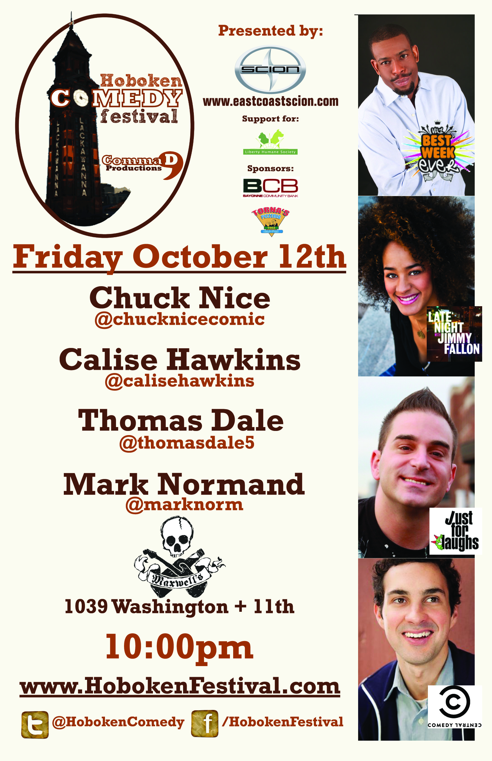 Hoboken Comedy Festival Chuck Nice Thomas Dale Calise Hawkins Mark Normand